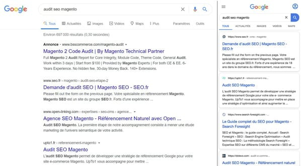 Comparaison SERP Google desktop et mobile