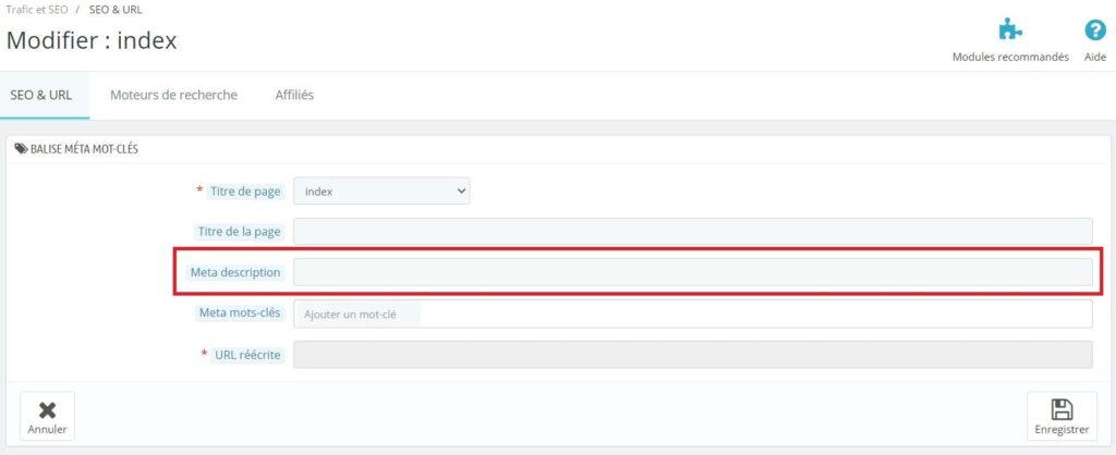 Modifier la méta description de la page d'accueil sur Prestashop