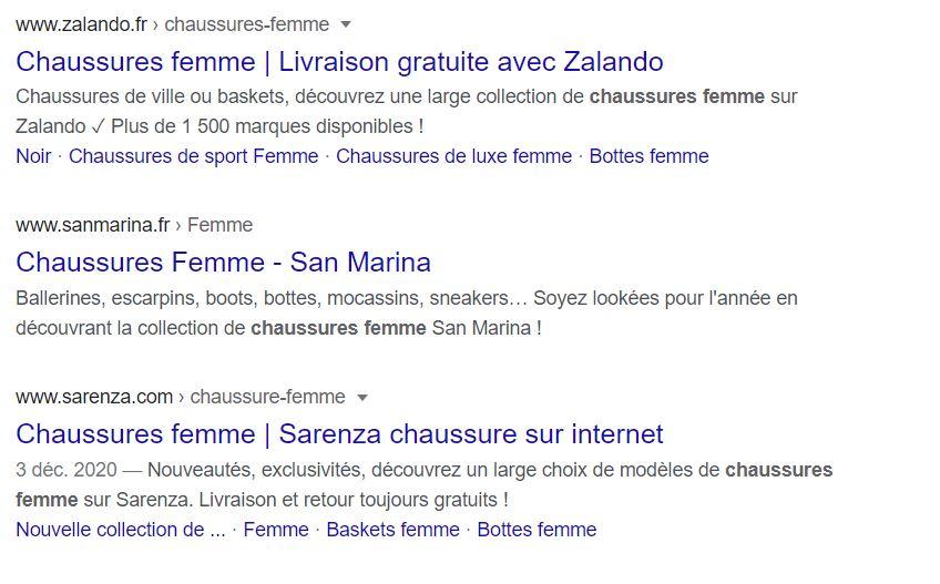 Exemple méta description résultat recherche Google
