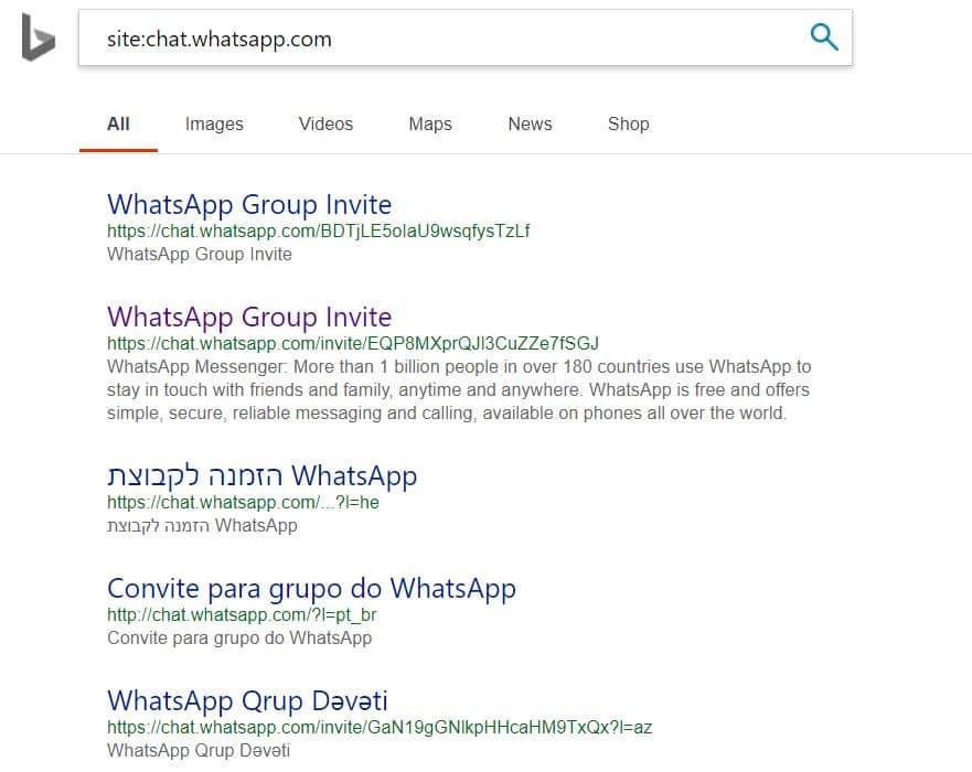 Résultat SERP Bing indexation Whatsapp