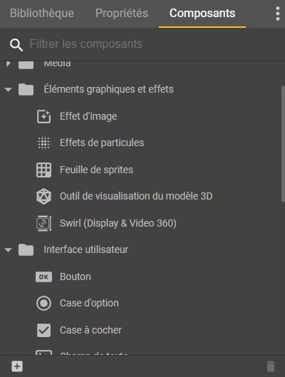 Liste des composants pour les annonces dans Google Web Designer